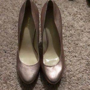 Blush pink metallic faux snake skin heels